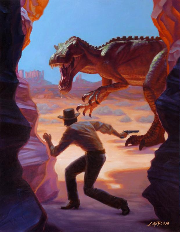 Dinosaur and a cowboy