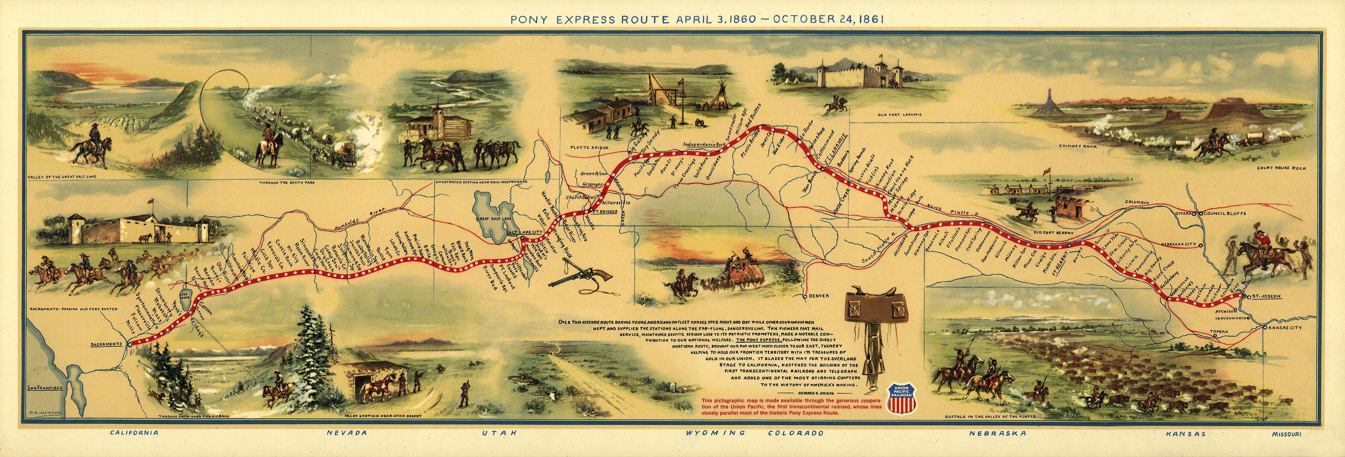 Gigantic 1860s Pony Express Map Dinosaur Cowboys